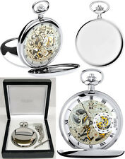 Jean Pierre Twin-Lid Hunter Skeleton Pocket Watch CP with Free Engraving (g250c)