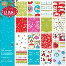 """Docrafts Papermania FOLK CHRISTMAS 12x12"""" Doubled Sided Paper Pack Linen (32pk)"""