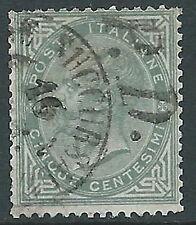 1863-65 REGNO USATO TIRATURA LONDRA EFFIGIE 5 CENT ANNULLO P.D. - R-4
