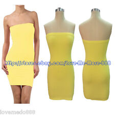 Solid Club Casual Summer Shift Strapless Yellow Tube Stretch Bodycon Dresses XL