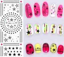BLACK Pink Dotted Stripe Stars Sparkle Water Transfers Nail Art Stickers Decal