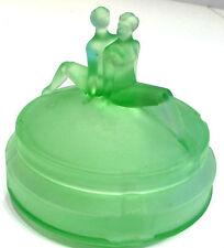 "L.E. Smith ""The Twins"" Nude Art Deco Depression Glass 30s Green Satin Powder Jar"