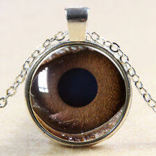 Vintage Big Eye Cabochon Tibetan Silver Glass Chain Pendant Necklace BX225
