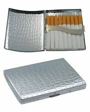 Metal Cigarette Case King Size Textured Chrome Plated Gift Box C881