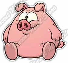 Fat Cute Pig Pork Livestock Funny Gift Idea Car Bumper Vinyl Sticker Decal 4.6""