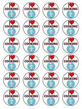 """I Love cucinare e cuocere Cupcake Topper Commestibili in Carta di riso 1,5 """" 24 per Set"""