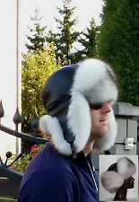 Real 100% blue fox fur /leather hat M,L/XL