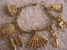 "My Fair Lady Vintage Original BSK Signed Bracelet 6""Length Rare 7 Charms"