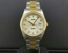 Rolex Datejust 36mm Ref. 16233 2 Tone Steel & Yellow Gold Factory Diamonds B + P