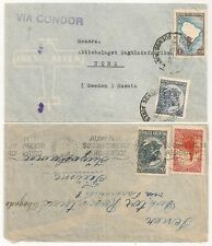 2 COVERS ARGENTINE ARGENTINA VIA CONDOR TO SWEDEN. L630