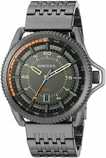 NEW DIESEL DZ1719 ROLLCAGE GUNMETAL-TONE STEEL ORANGE ACCENT DIAL MEN'S WATCH