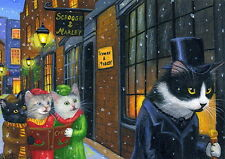 Kittens cat Scrooge A Christmas Carol England winter snow OE aceo print art