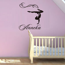 Gymnastic Girl Personalized Name Vinyl Wall Decal Girls Bedroom Removable Decor