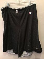 VTG CHAMPION REVERSIBLE MESH SHORTS GRAY BLK MEN SZ M BASKETBALL RUNNING PE