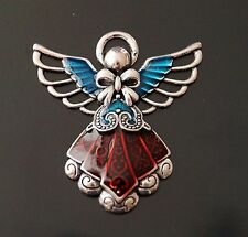 1x Tibetan Silver Red Cyan Enamel Guardian Angel Charm Pendant 42mm (TSC100)