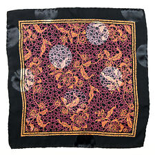 New SANTOSTEFANO Handmade Plum Black Silk Pocket Square Handkerchief NWT $150