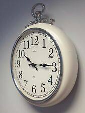 Large Ivory Silver Wall Clock Vintage Pocket Fob Style Kitchen Hallway 47.5cm