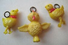 VINTAGE 1940's Celluloid BABY BIRD CHICK Cracker Jack Gumball Prize Charms LOT