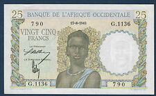 AFRIQUE OCCIDENTALE - 25 FRANCS Pick n° 38. DU 17-8-1943. en SPL  G.1136 790