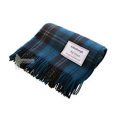 EDINBURGH - PURE WOOL SCOTTISH TARTAN RUG / BLANKET / THROW - RAMSAY BLUE