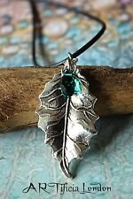 Elven Oak Leaf Necklace with Emerald Green Austrian Crystal - Handmade Jewellery