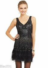 Sz 12 * SUE WONG 1920's Feather Flapper Dress Beaded GATSBY Black Charcoal Gray