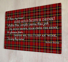 Scotch Drink Scottish tartan Burns Poem Whisky sign A4 metal plaque