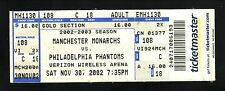 2002 Manchester Monarchs Ticket vs Philadelphia Phantoms
