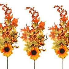 Artificial Autumn Leaves Sunflower Stem - x3 - Decorative Autumn Winter Foliage