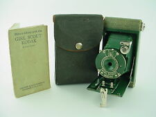 Eastman Kodak Girl Scout Folding Camera green instructions and case - Rare