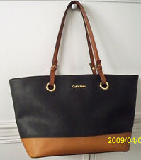 Authentic CK CALVIN KLEIN handbag Tote style Bag Black & Tan dual handles