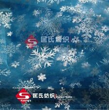 Princess Elsa Cloak  snowflake organza cape silver glitter frozen fabric 59 ""