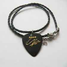 "PRINCE guitar pick plectrum braided twist LEATHER NECKLACE 18"" + extender BLACK"