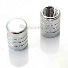 (2) Motorcycle Bike **SILVER ALUMINUM** tire valve stem CAPS with chrome stripes