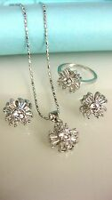 White Gold-Filled Floral Earrings Necklace Ring 4-Piece Set w/ Rhinestones, NEW!