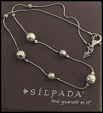 "SILPADA .925 Hammered Sterling Silver - Oxidized Beaded Necklace - 16"" Retired"