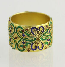 Museum Collection Ring - sterling Silver Enamel Glass Antique-Style Band NEW