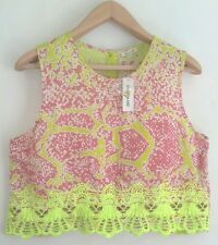 BNWT RIVER ISLAND LADIES EMBROIDERED CROP TOP PINK PRINT SIZE 14 RRP £22.00