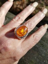Big Oval Yellow Gold Amber Solitaire Ring, 925, Size 7