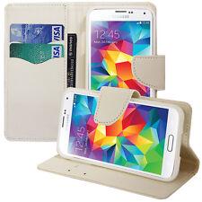 Housse Etui Portefeuille Effet Tissu BLANC Samsung Galaxy S5 V G900F/ Duos/ Plus