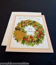 Vintage Unused Hallmark Xmas Greeting Card Resin Glitter Holiday Wreath