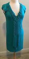 Nanette Lepore Swim Turquoise Stretch Fringe Crochet Trim Casual Dress sz M marj