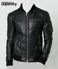 SUPERDRY LEATHER JACKET- HERO MARKSMAN LEATHER  BOMBER JACKET/ NEW / SIZE LARGE