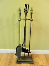 VTG Fireplace tool set 5 pcs Antique Brass Broom Tongs Shovel Poker Stand No 219