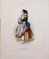 MADRID, LUGAREÑA, paysanne des environs de Madrid, grabado original, 1849