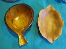Lot of 2 Hand Carved Wooden Bowls - Philippines & other handle no mark CAR