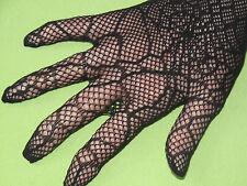 Gothic Netz-Handschuhe schwarz mit Spitze, lang, Spinnenmuster, löchrig,
