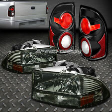 SMOKED 1PC HEADLIGHT+BUMPER+BLACK ALTEZZA REAR TAIL LIGHT FOR 97-04 DODGE DAKOTA