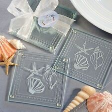 50 Beach Themed Glass Coasters Wedding Shower Favors