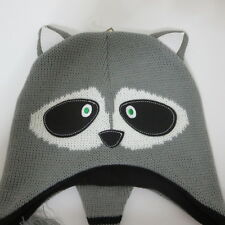 Adult Raccoon Animal Critter Peruvian Gray Winter Hat Cap